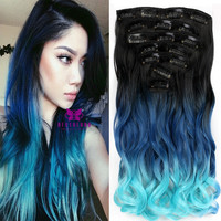 """Light Blue Clip In Synthetic Hair 7pcs Set 20"""" Wavy Extension 3Colors Ombre Curly Dip Dye Hair Extensions Hair Piece Style A10"""