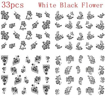 33pcs Nail Art White Black Rose Water Decals Water Transfer Nail Stickers Swirl Flower Rose Nail Tips