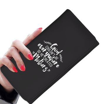 Wallet For Woman with Spiritual Saying - God Couldn't Be Everywhere So He Created Mothers - Spirituality Gift For Moms - Christian Mom Gifts