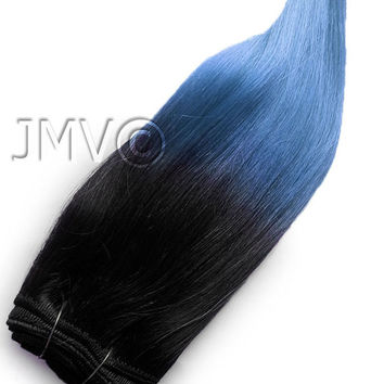 "Full Head Set 16"" #1b Baby Blue Balayage Clip in Ombre extensions 100% human hair"