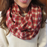 Tan and Red Flannel Infinity Scarf- Plaid Winter Scarf