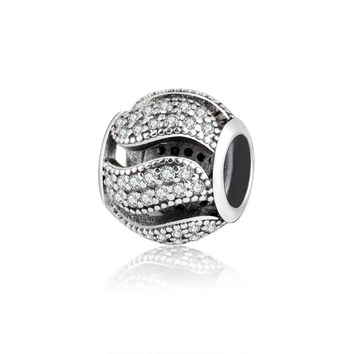 Authentic 925 Sterling Silver  Charm Bead With Clear CZ Pandora Original Charms Bracelet DIY Jewelry