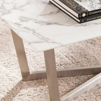 Wrexham Faux Marble Cocktail Table - Soft Ivory with Gray