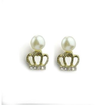 Hot Popular Fashion Exquisite Small Pearl Crown Stud Earrings Gold