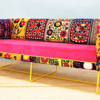 Suzani box sofa - yellow feet