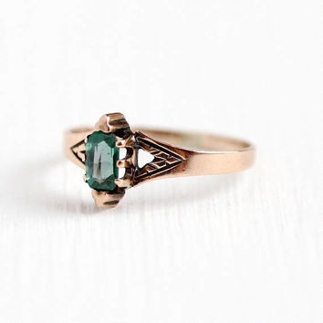 Antique Victorian Ring - 10k Rose Gold Green Garnet Doublet Gem Fine Jewelry - 1890s Size 6 Composite Stone Simulated Emerald Gift for Her