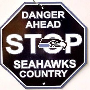 "Seattle Seahawks PV Retro Color Logo 12"" Plastic Wall STOP Sign Country Football"