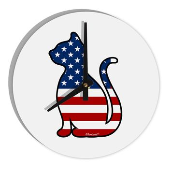 "Patriotic Cat Design 8"" Round Wall Clock  by TooLoud"