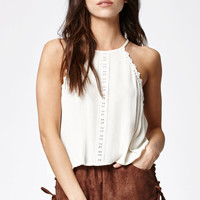 Kendall and Kylie Crochet Inset Goddess Neck Tank Top at PacSun.com
