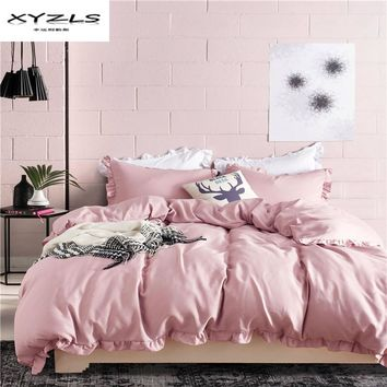 XYZLS Polyester Solid Color Bedding Set Ruffles Duvet Cover Set Soft Pillowcase Quilt Cover 2/3PCS Twin Queen King Size