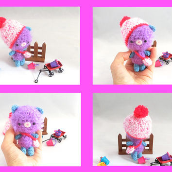 Amigurumi Cat Purple Fuzzy Kitten Crochet Cat Crochet Doll Pompom Hat Stuffed Animal Crochet Kids Toy Holiday Gift Idea Kawaii Toy