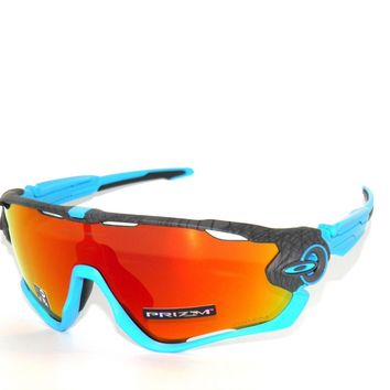 OAKLEY JAWBREAKER 9290-33 AERO GRID GREY/BLUE PRIZM RUBY SUNGLASSES