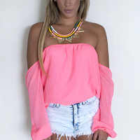Neon Off Shoulder Top - Neon Pink