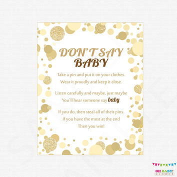Don't Say Baby, Baby shower games, gold baby shower, baby shower sign, 8x10, baby shower printable instant download, baby girl boy CB0003-g