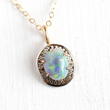 Genuine Opal Necklace - Antique Edwardian 10k Rosy Yellow Gold Stick Pin Conversion Pendant - Vintage 1900s Era Gemstone Fine Charm Jewelry
