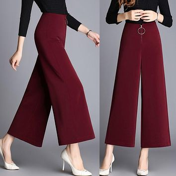 Spring and autumn high waist culottes pants winter fashion wide-leg bigfoot wide leg pants wide leg ankle length trousers