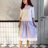 Cotton striped summer one size skirt with lace, pockets, midi skirt