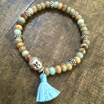 Boho Bracelet Buddha Tassel Gemstone Bracelet Beaded Bohemian Jewelry by Two Silver Sisters