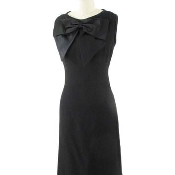 1960s Satin Bow Accent Cocktail Dress