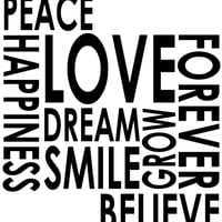"""Peace Love Happiness Grow Smile, inspirational wall die cut decal 20"""" x 21"""""""