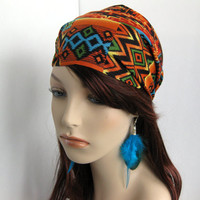 Navajo Southwestern Bandana Women's Hair Head Wrap Multi Color Black Orange Teal Geen Aztec Cotton Print Headband