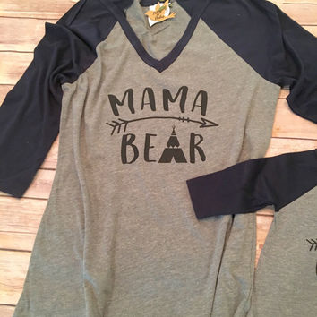 6b35cef9 Mama Bear Shirt Set, Mommy and Me Shirts, Mommy and Me Outfits, Mom