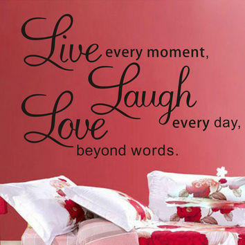 Promotion Live Love Laugh Letters Transp Waterproof Vinyl Wall Quotes Decal Pvc Home Decor