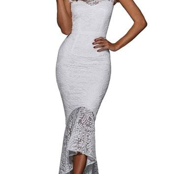 White Lace Overlay Embroidered Formal Party Dress