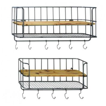 Set of 2 Metal + Wood Wall Shelves