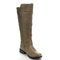 Women Boots From Forever Link Quilted Zipper Accent Riding Boots