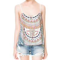 PRINTED BACKLESS TANK TOP - Shirts - TRF - New collection | ZARA United States