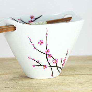 Hand Painted Bowl White  Ceramic Noodle Bowl  Asian cherry tree design pink black botanical minimalist kitchen decor- Decorative Art