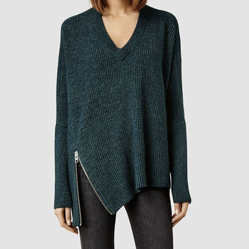 Womens Able Zip Sweater (Forest Marl) | ALLSAINTS.com