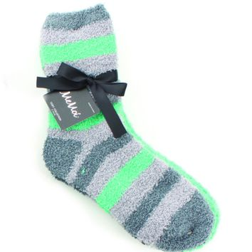 Striped/Solid Fuzzy Crew Two Pair Pack