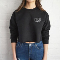 Womens Star Who Meow Cat Whiskers Simple Cashmere Sweater