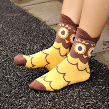 Adorable Barn Owl Bird Print Animal Themed Cotton Socks in Brown for Women