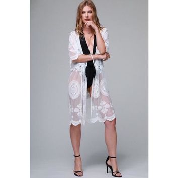 e3d38bb75 Sheer Lace Duster Kimono or Cover Up in White