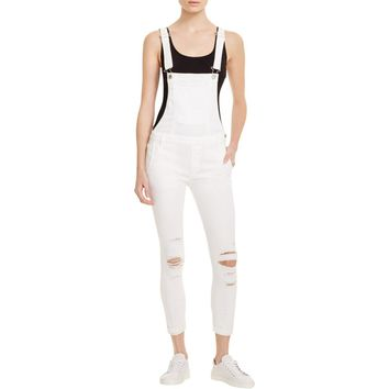 Black Orchid Womens Destroyed Skinny Overall Jeans