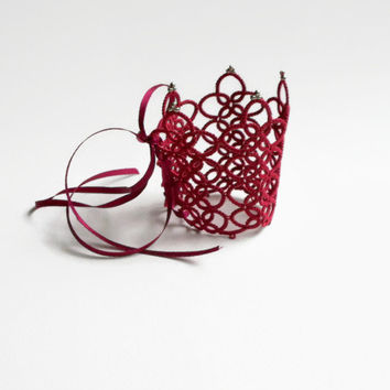 burgundy crown bracelet, victorian cuff, handmade tatting lace, bordeaux and silver