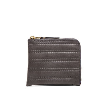 Comme Des Garcons Embossed Stitch Small Zip Wallet in Grey | FWRD