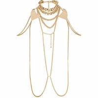 Gold tone curb chain body harness