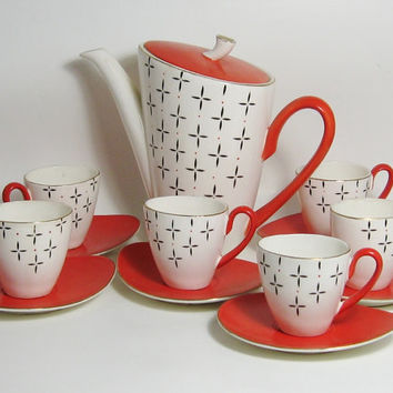 Mid Century Modern Demitasse Set Geometric Oblong Burnt Orange Cream Charcoal Gilded 6 Cups Saucers Coffee Expresso Pot