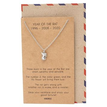 Abril Year of the Rat Pendant Necklace, Birthday Gifts for Best Friend