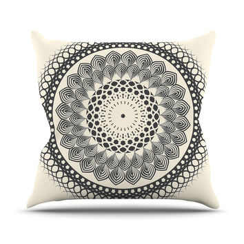 "Famenxt ""Black & White Boho Mandala"" Geometric Outdoor Throw Pillow"
