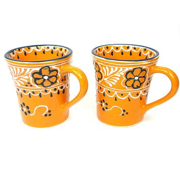 Mexican Ceramic Pottery Mugs Pair of Coffee Cups -Mango
