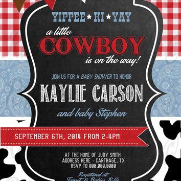 Cowboy Country Western Baby Shower Invitation   Digital File