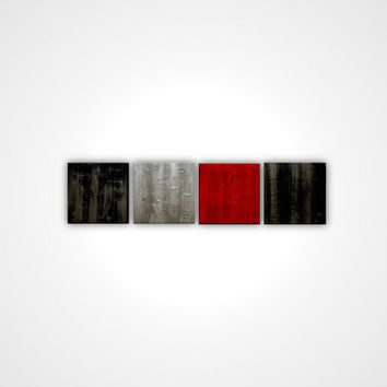 Textured painting - Gray black red abstract painting - Contemporary painting - Canvas art - Huge painting - Large size Art deco Matt Regton