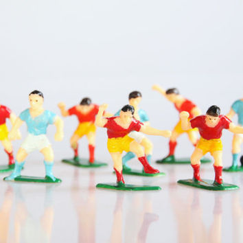 Miniature rugby team figurines, vintage rugby decor, retro rugby art, sports decor, football decor, vintage plastic rugby toys, sport decor
