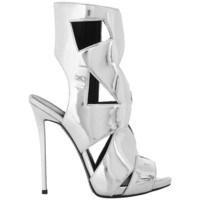 Giuseppe Zanotti NEW Silver Leather Cut Out Mirror High Heels Sandals in Box