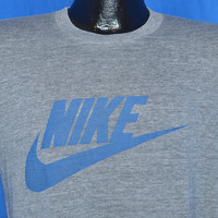 80s Nike Rayon Tri Blend Gray Distressed Blue Tag t-shirt Medium